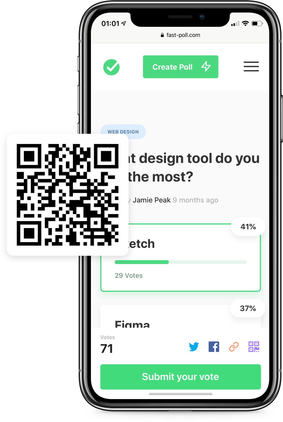 A mobile device showing our QR code feature